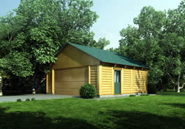 Garage Log Cabin Model