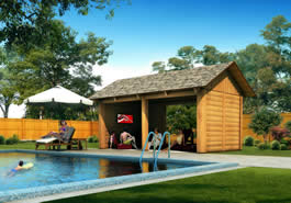 Pool House Log Cabin Model